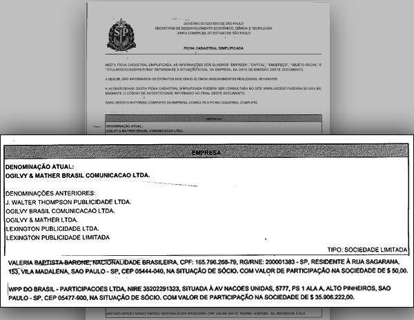 Registro da Ogilvy mostra que o principal sócio é a WPP Brasil