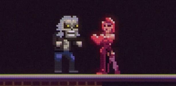 """Versão pixelada de Eddie salva a donzela em fase estilo """"Donkey Kong"""""""