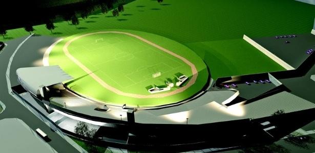 Projeto de reforma do estádio municipal da cidade do Guarujá; não termina antes da Copa