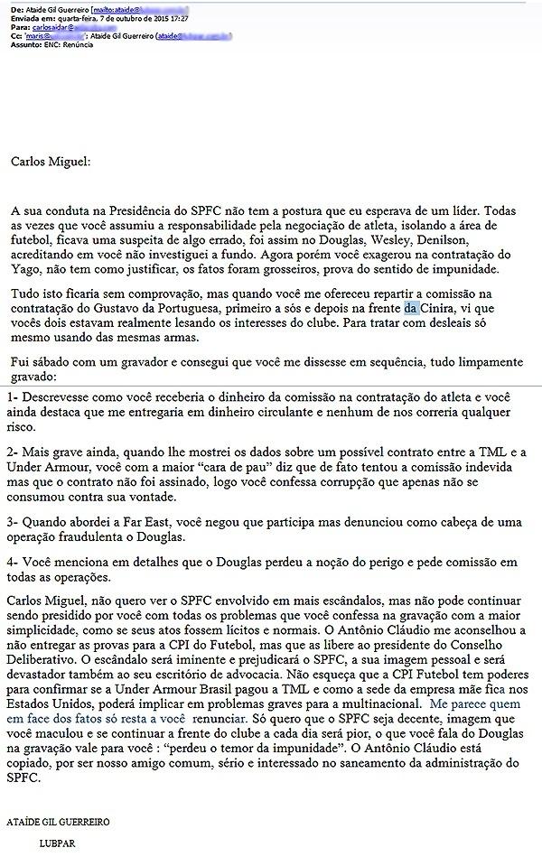 Aidar confirma que renuncia na terça à presidência do São Paulo  11/10/2015