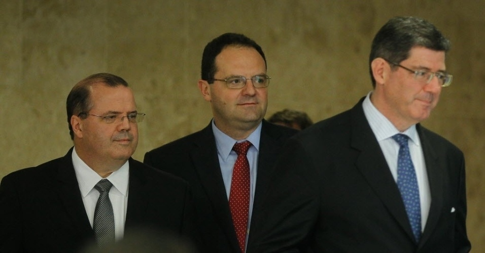 """We'll take it from here."" The trio that will run Brazil's economy in Dilma's second term include... [+] the return of Alexandre Tombini at the Central Bank (left), Nelson Barbosa as Planning and Budget Minister (center) and ex-Treasury Secretary and President of Bradesco Asset Management, Joaquim Levy (right). Despite low growth expected again in the fourth quarter, the market is expecting recovery next year under their leadership."