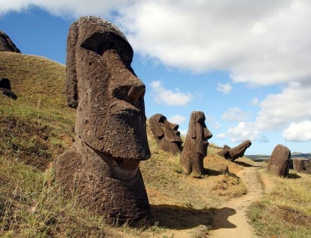 Ahu Tongariki, na Ilha de Páscoa
